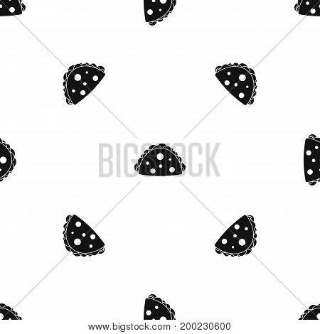 Empanada, cheburek or calzone pattern repeat seamless in black color for any design. Vector geometric illustration