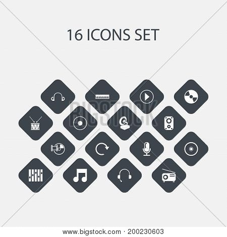 Set Of 16 Editable Audio Icons. Includes Symbols Such As Equalizer, Vinyl, Refresh And More