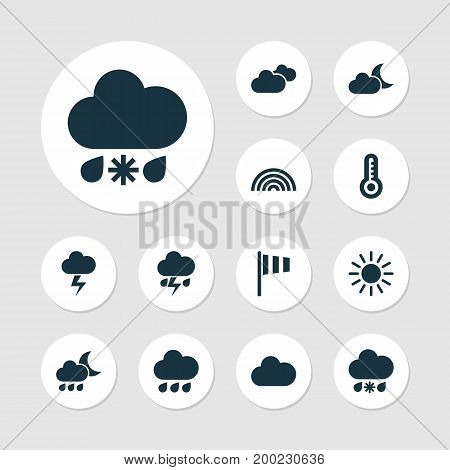 Climate Icons Set. Collection Of Cloudy, Nightly, Flag And Other Elements