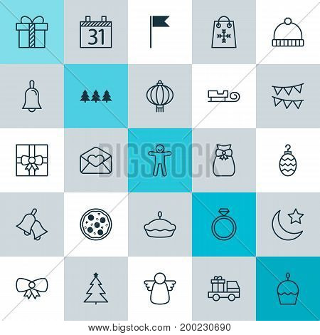 Christmas Icons Set. Collection Of Traditional Lamp, Holiday Ornament, Flan And Other Elements