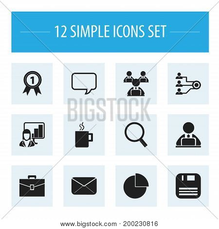 Set Of 12 Editable Bureau Icons. Includes Symbols Such As Portfolio, Loupe, Badge And More