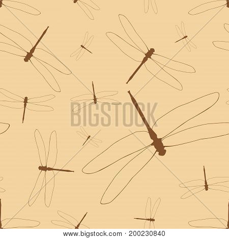 Seamless Pattern With Dragonflies. Brown Silhouettes Of Dragonflies On A Beige Background. Light Ill