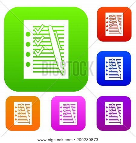 Document with plan and pen set icon in different colors isolated vector illustration. Premium collection