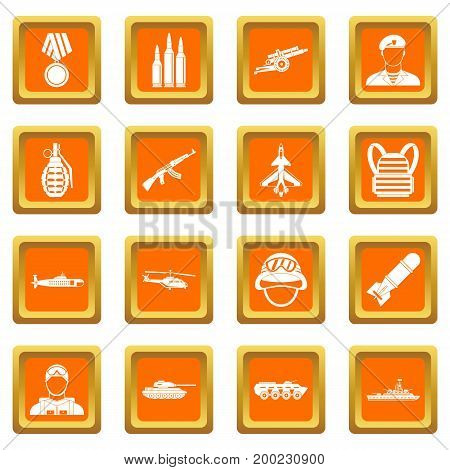 War icons set in orange color isolated vector illustration for web and any design