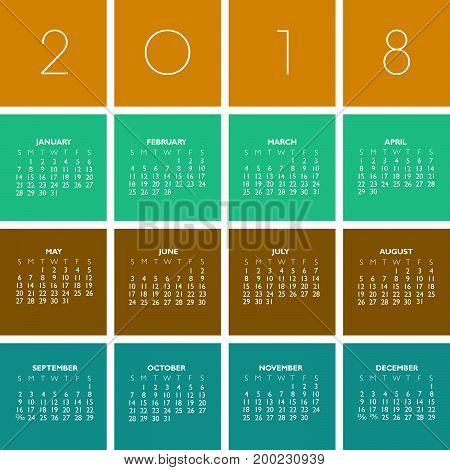 2018 Creative Colorful Calendar in multiple colors
