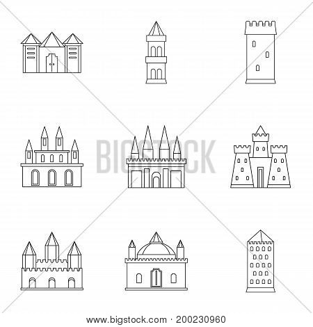 Castles and towers icon set. Outline style set of 9 castles and towers vector icons for web isolated on white background