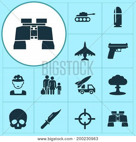 Combat Icons Set. Collection Of Cutter, Aircraft, Panzer And Other Elements