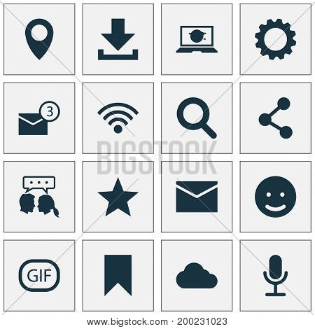 Social Icons Set. Collection Of Video Chat, Smile, Star And Other Elements