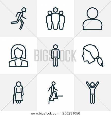 People Outline Icons Set. Collection Of Team, Man, Profile And Other Elements