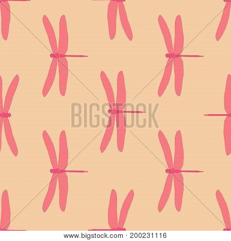 Seamless Hand Drawn Vintage Pattern With Dragonflies. Background With Pink Dragonflies In Light Oran