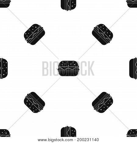 Hamburger pattern repeat seamless in black color for any design. Vector geometric illustration