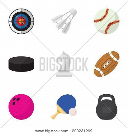 Set Of 9 Editable Active Flat Icons. Includes Symbols Such As Washer, Tennis, Kegling And More