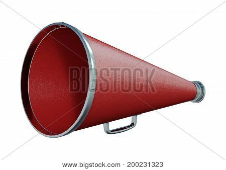 3D Rendering Red Loudspeaker On White