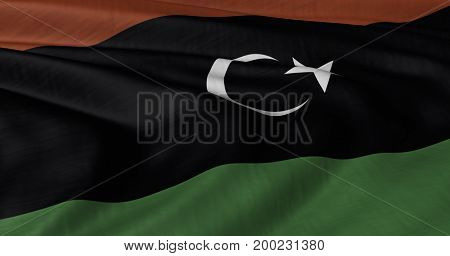 3D illustration of Libyan Flag fluttering in strong wind.