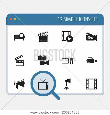 Set Of 12 Editable Filming Icons. Includes Symbols Such As Clapper, Retro Television, Presentation And More