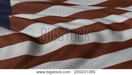 3D illustration of Liberian Flag fluttering in light wind.