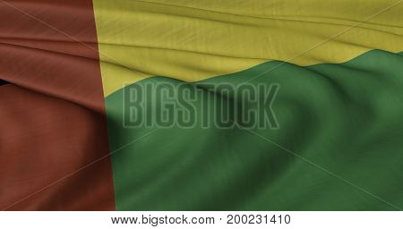 3D Illustration of Benin flag fluttering in strong wind.