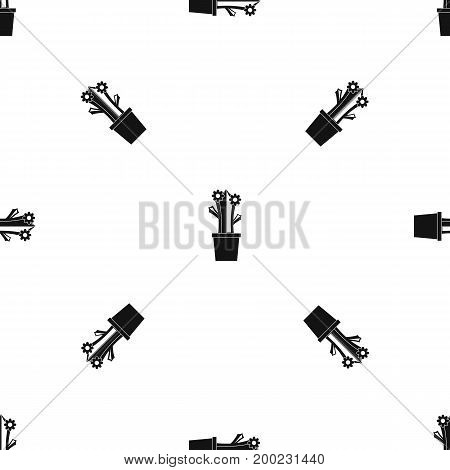 Flowering cactus pattern repeat seamless in black color for any design. Vector geometric illustration