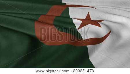 3D illustration of Algerian Flag fluttering in light wind.