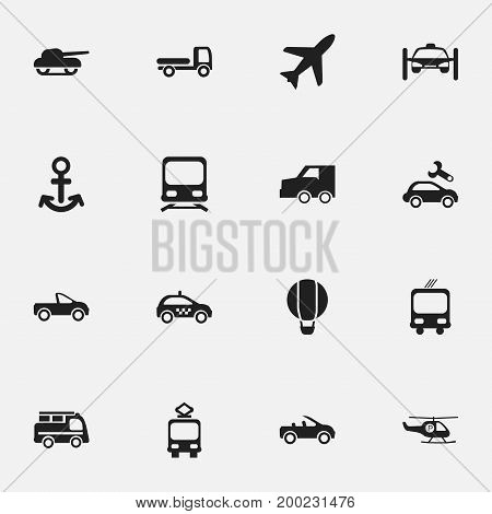 Set Of 16 Editable Shipment Icons. Includes Symbols Such As Cable Railway, Cab, Washing Auto And More