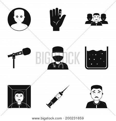 Fear icon set. Simple style set of 9 fear vector icons for web isolated on white background
