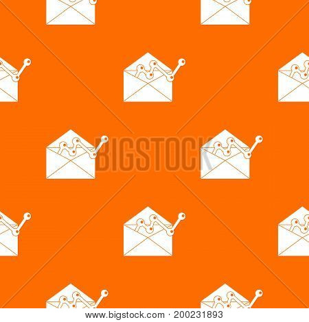 Envellope with graph pattern repeat seamless in orange color for any design. Vector geometric illustration