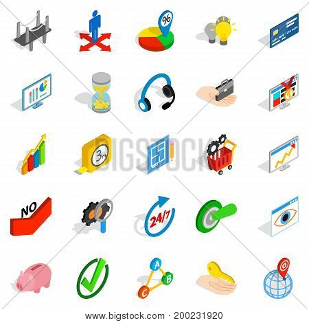 Unique idea icons set. Isometric set of 25 unique idea vector icons for web isolated on white background