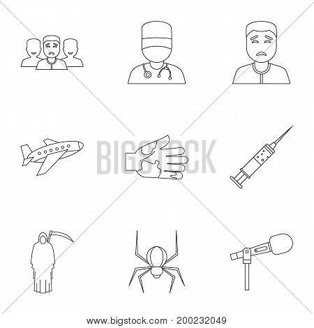 Phobia symbols icon set. Outline style set of 9 phobia symbols vector icons for web isolated on white background