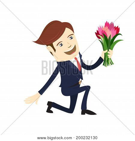 Funny male character wearing suit gives flowers bending knee. Vector illustration