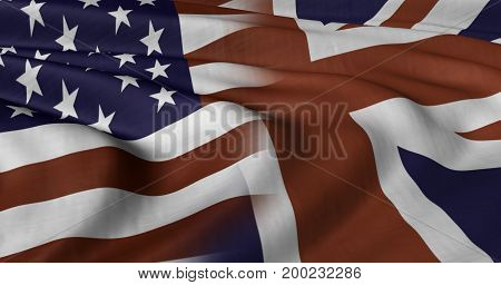3D illustration of USA and UK flag fluttering in light breeze.