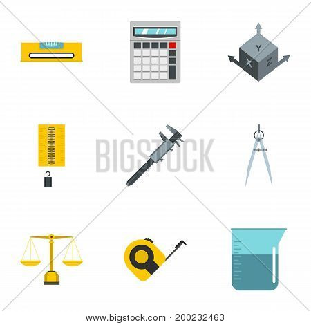 Dimension icon set. Flat style set of 9 dimension vector icons for web isolated on white background