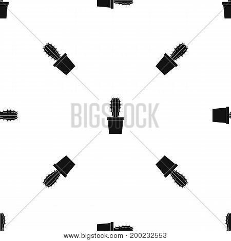Cactaceae cactus pattern repeat seamless in black color for any design. Vector geometric illustration
