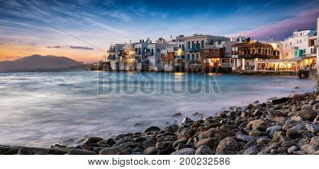 Little Venice on the island of Mykonos, Cyclades, Greece, just after sunset