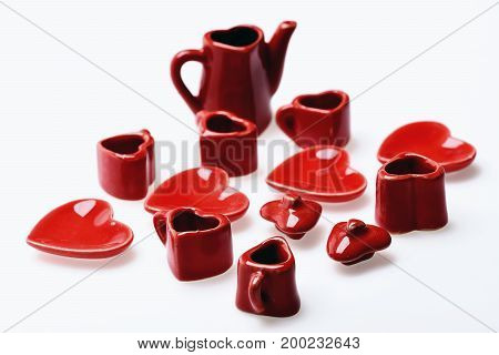 Toy Kitchen Story Presented By Tiny Red Ceramic Dishes