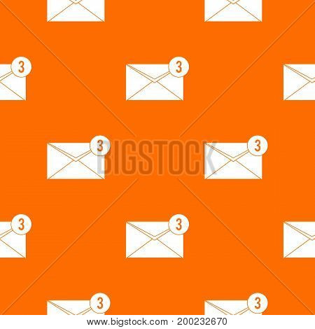 Envelope with three messages pattern repeat seamless in orange color for any design. Vector geometric illustration