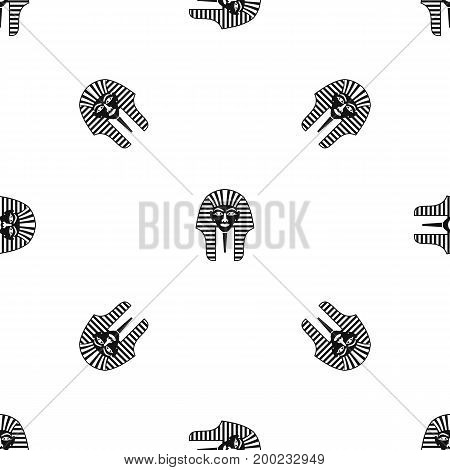 Tutankhamen mask pattern repeat seamless in black color for any design. Vector geometric illustration