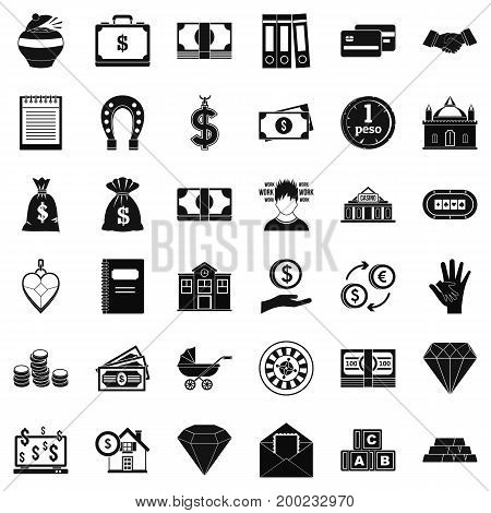 Deposit in bank icons set. Simple style of 36 deposit in bank vector icons for web isolated on white background