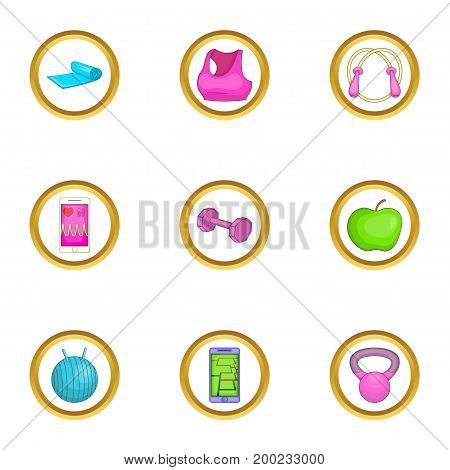 Activity icons set. Cartoon illustration of 9 activity vector icons for web design