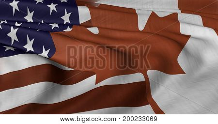 3D illustration of USA and Canada flag fluttering in light breeze.