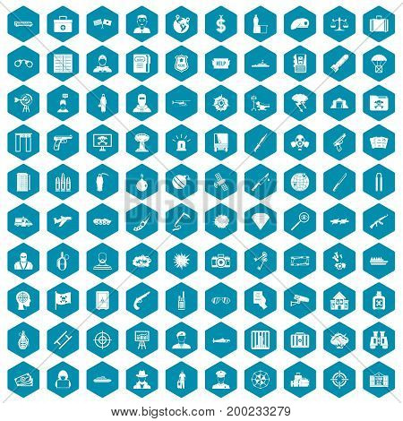100 antiterrorism icons set in sapphirine hexagon isolated vector illustration