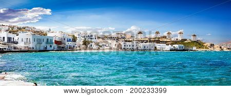 Panoramic view to the famous windmills of Mykonos, Cyclades, Greece