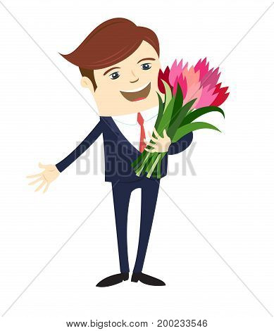 Funny male character wearing suit gives flowers. Vector illustration