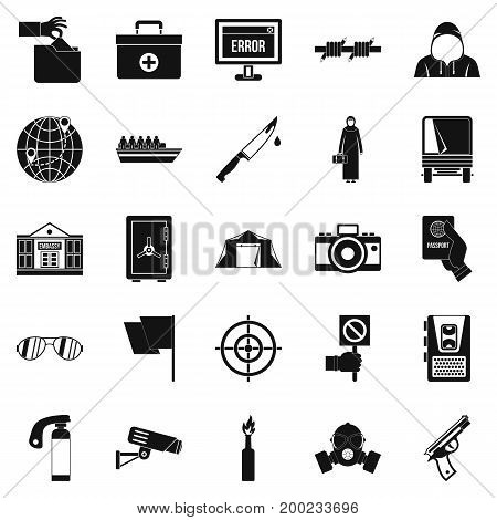 Gaffe icons set. Simple set of 25 gaffe vector icons for web isolated on white background