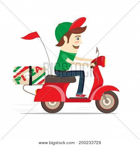 Funny pizza boy delivering pizza boxes by red retro scooter. Flat design. Vector illustration.