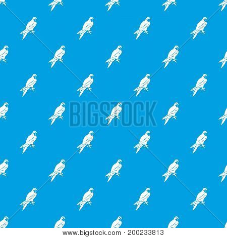 Falcon pattern repeat seamless in blue color for any design. Vector geometric illustration