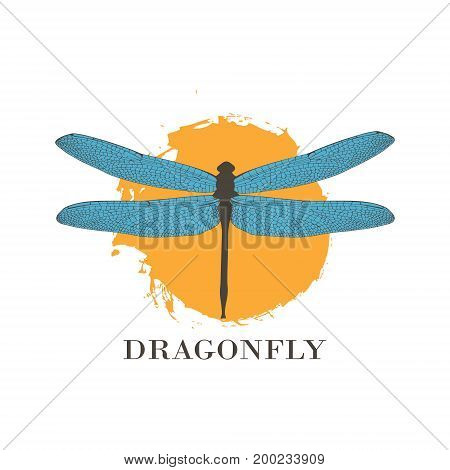Dragonfly Logo Design Template. A Colorful Dragonfly On A Background Of Colored Splashes, Watercolor