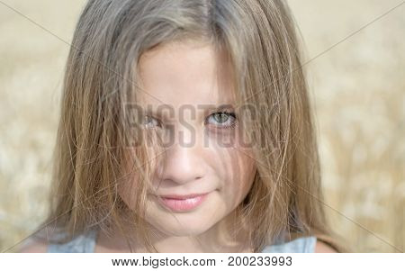 Portrait of adorable little girl with beautiful long hair at a summer day with wheat field background