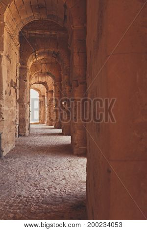 arch corridor in ancient castle or temple
