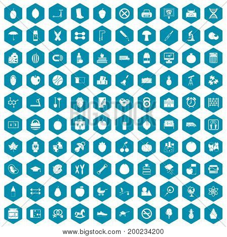 100 apple icons set in sapphirine hexagon isolated vector illustration