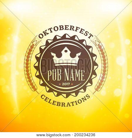 Beer Festival Oktoberfest Celebrations. Vintage Beer Badge On The Golden Beer Background With Light